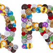 Stockfoto: Characters Q and R made of clothing buttons