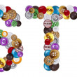 Characters S and T made of clothing buttons — Stock Photo