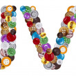 Stockfoto: Characters U and V made of clothing buttons