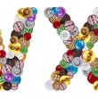 Characters W and X made of clothing buttons — Stockfoto #7381675