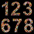 Numbers 0 to 9 made of assorted pills — Stock Photo