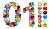 Números 0 e 1 feito de botões de roupa — Foto Stock