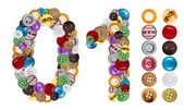 Numbers 0 and 1 made of clothing buttons — Stock Photo