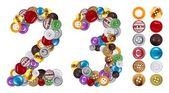 Números 2 e 3 feita de botões de roupa — Foto Stock