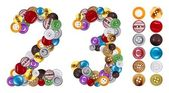 Numbers 2 and 3 made of clothing buttons — Foto Stock