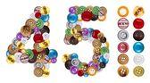 Liczby 4 i 5 wykonane ubrania przycisków — Zdjęcie stockowe