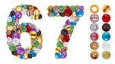 Los números 6 y 7 hecho de botones de ropa — Foto de Stock
