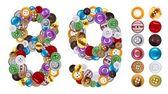 番号 8 および 9 から成っている服のボタン — ストック写真
