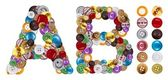 символы a и b изготовлен из джинсовые пуговицы — Стоковое фото
