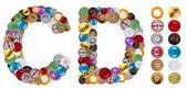 文字 c と d から成っている服のボタン — ストック写真