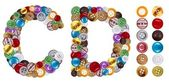 Znaki c i d wykonane ubrania przycisków — Zdjęcie stockowe