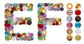 F et e caractères faits de boutons de vêtements — Photo