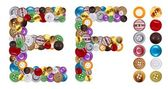 Znaki e i f wykonane ubrania przycisków — Zdjęcie stockowe