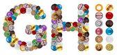 H et g de personnages faits de boutons de vêtements — Photo