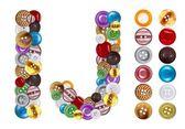 Personagens i e j, feitos de botões de roupa — Foto Stock