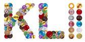 Znaki k i l wykonane ubrania przycisków — Zdjęcie stockowe