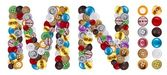 Characters M and N made of clothing buttons — Stok fotoğraf