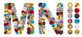 Tekens m en n gemaakt van kleding knoppen — Stockfoto