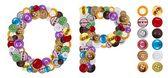 P et o personnages faits de boutons de vêtements — Photo