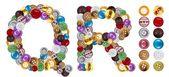R et q de personnages faits de boutons de vêtements — Photo