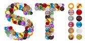 T e s personagens feitos de botões de roupa — Foto Stock