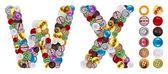 Caracteres w e x feitos de botões de roupa — Foto Stock