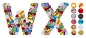 Caractères w et x en boutons de vêtements — Photo