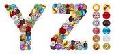 字符 y 和 z 制成的服装按钮 — 图库照片