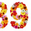Numbers 8 and 9 made of various flowers - Stock Photo