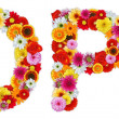 Characters O and P made of various flowers — Stock Photo