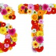 Characters S and T made of various flowers — Stock Photo