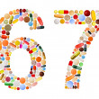 Numbers 6 and 7 made of various colorful pills — Stock Photo