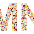 Characters M and N made of colorful pills — Stock Photo #7390802