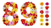 Numbers 8 and 9 made of various flowers — 图库照片