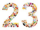Números 2 e 3 de várias pílulas coloridas — Foto Stock