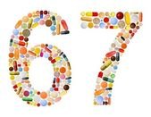 Numbers 6 and 7 made of various colorful pills — Photo