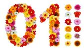 Numbers 0 and 1 made of various flowers — Stockfoto