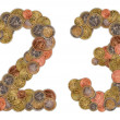 Numbers 0 and 1 made of Euro coins — Stock Photo #7411609