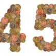 Numbers 4 and 5 made of Euro coins — Stock Photo