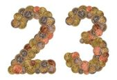 Numbers 0 and 1 made of Euro coins — Stock Photo
