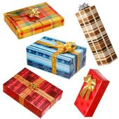 Various gifts on white — Stock Photo