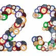 Numbers 2 and 3 made of various clocks — Stock Photo