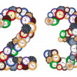Numbers 2 and 3 made of various clocks — Stockfoto