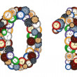 Numbers 0 and 1 made of various clocks — Stock Photo #7533839
