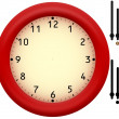Stock Photo: Simple clock with red plastic frame