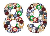 Numbers 8 and 9 made of various clocks — Stock Photo