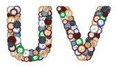 Characters U and V made of various clocks — Stock Photo