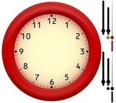 Simple clock with red plastic frame — Stock Photo