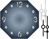 Eenvoudige klok met geborsteld metalen wijzerplaat en getallen — Stockfoto