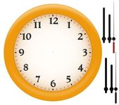 Simple clock with yellow plastic frame — Stock Photo